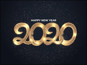 2020, Nowy Rok, Napis, Happy New Year