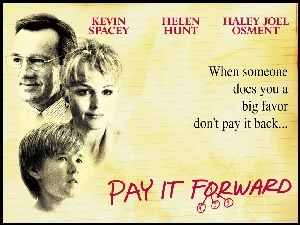 kartka, Pay It Forward, Haley Joel Osment, Kevin Spacey, Helen Hunt