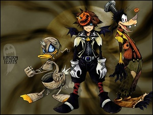 donald, goofy, Kingdom Hearts, halloween, postać, duck