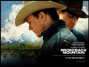 chmury, Brokeback Mountain, Heath Ledger, Jake Gyllenhaal, góry
