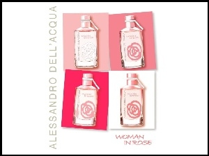 in, perfumy, Alessandro Dellacqua, flakon, woman, rose