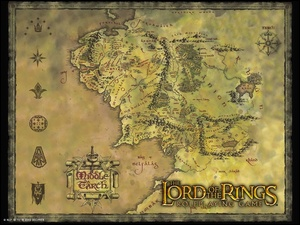 The Lord of The Rings, mapa, znaki, napis