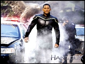 Hancock, radiowóz, Will Smith, dym