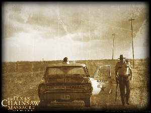 Texas Chainsaw Massacre The Beginning, radiowóz, szeryf, droga