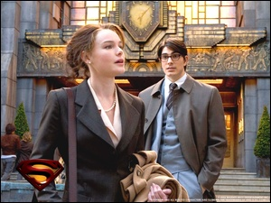 Brandon Routh, płaszcz, Superman Returns, budynek, Kate Bosworth, zegar