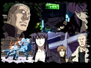 ludzie, roboty, pistolet, Ghost In The Shell