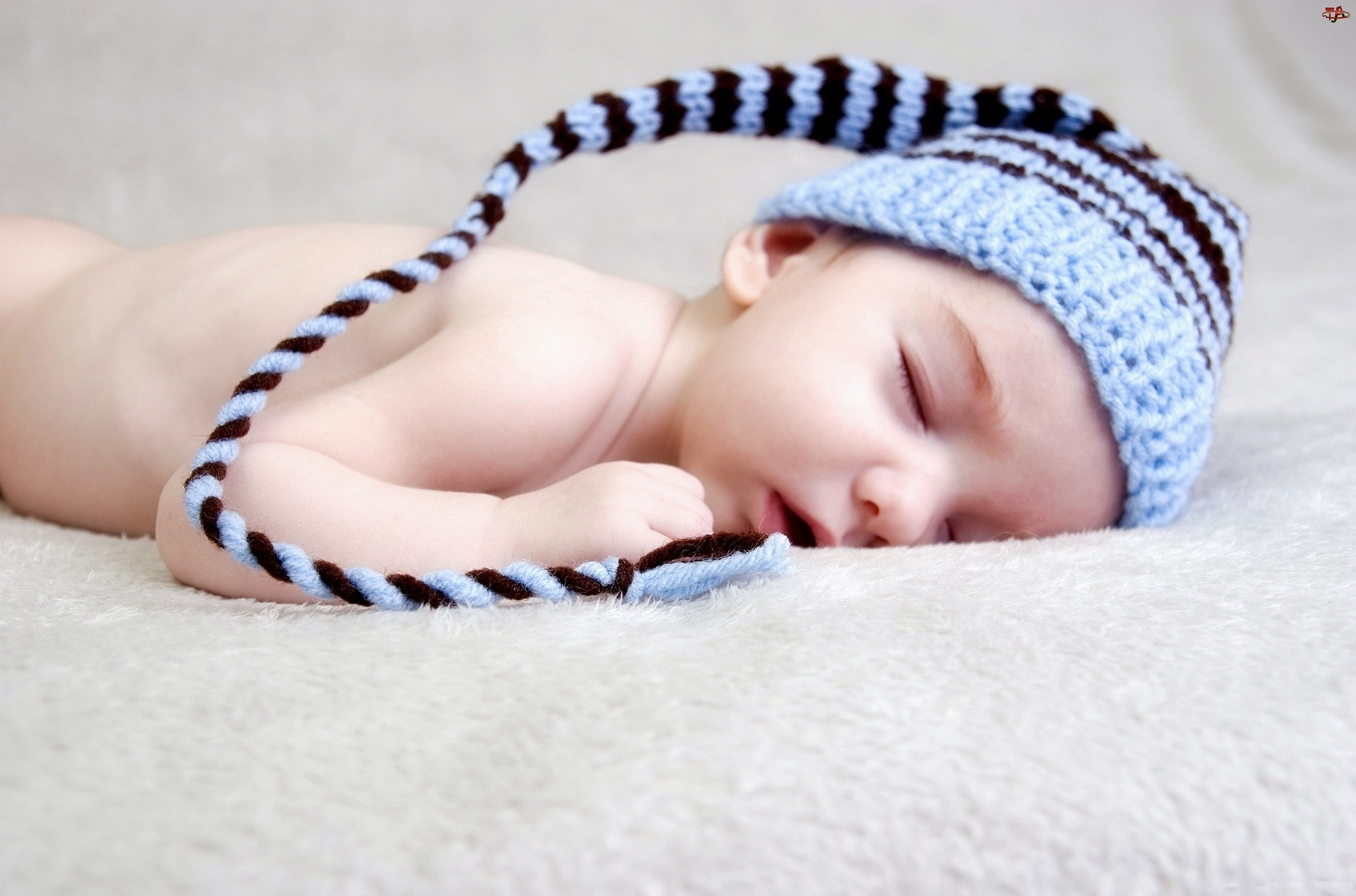 Niebieska, Dzianina, Dziecko, Śpiące, Czapeczka