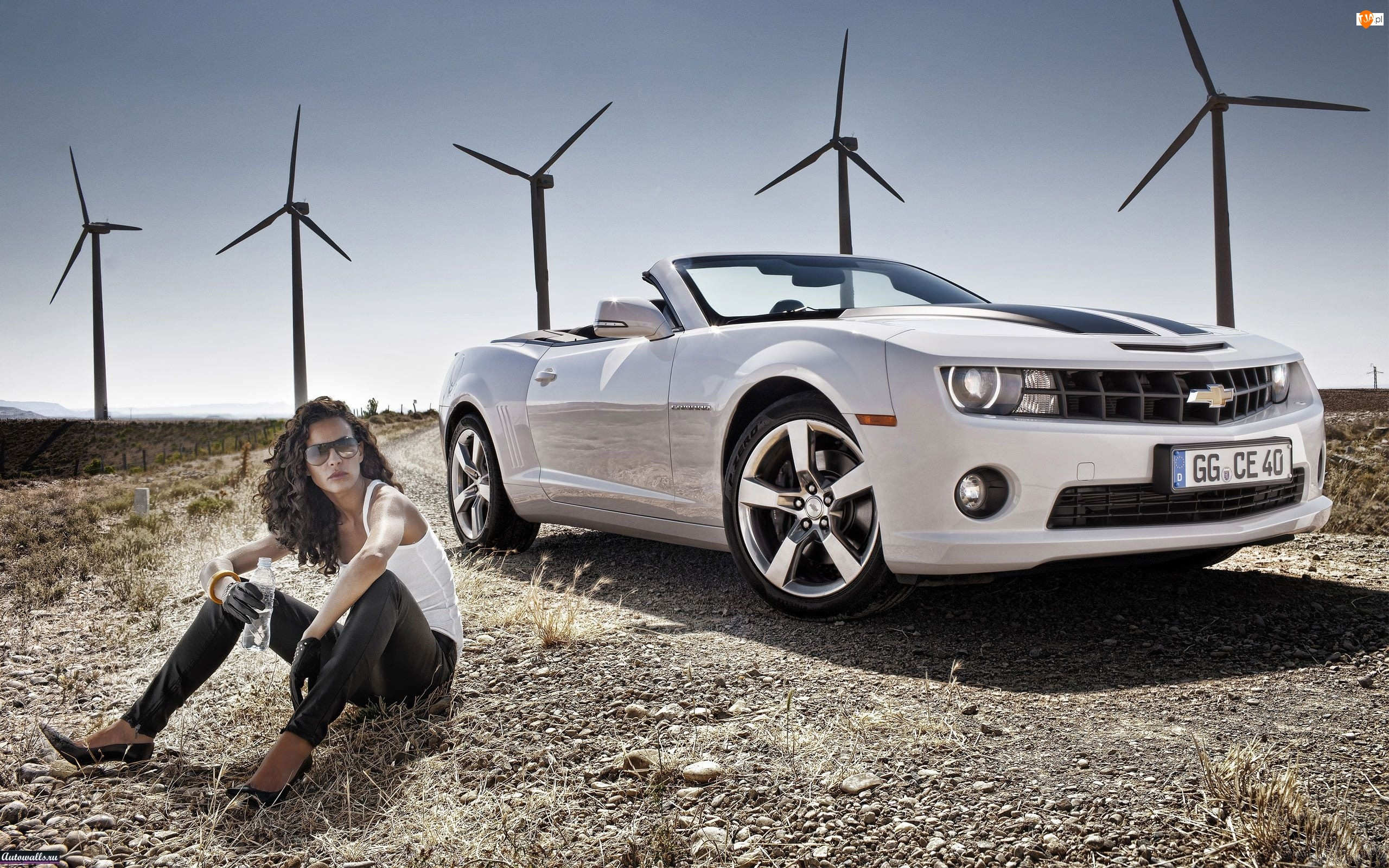 Kobieta, Biały, Camaro, Chevrolet, Cabrio