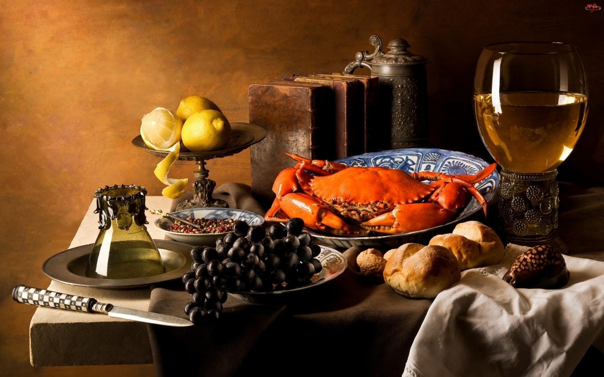Bułki, Kolacja, Krab, Wino, Owoce