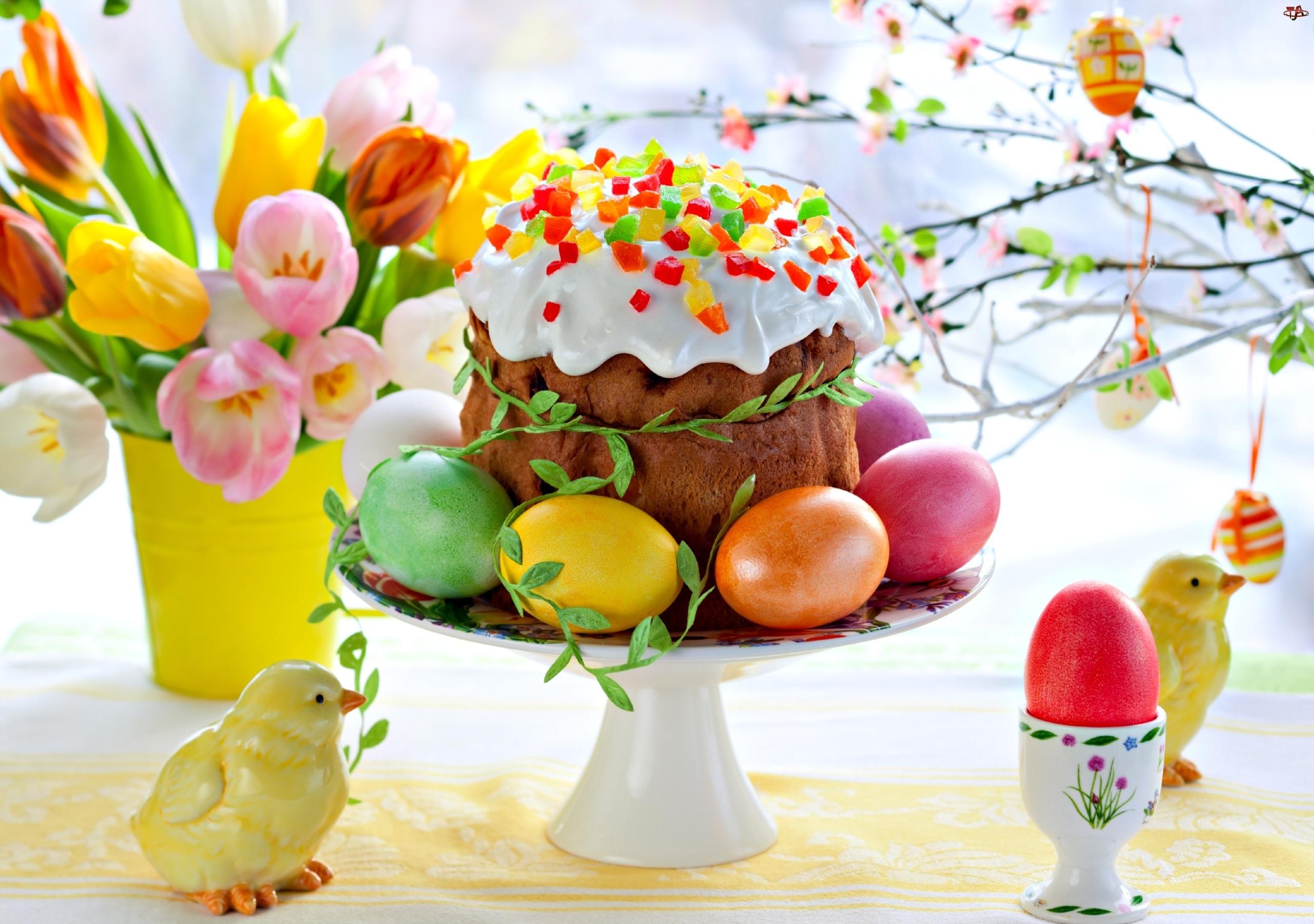 Babka, Tulipany, Wielkanocne, Jajeczka, Kurczaki