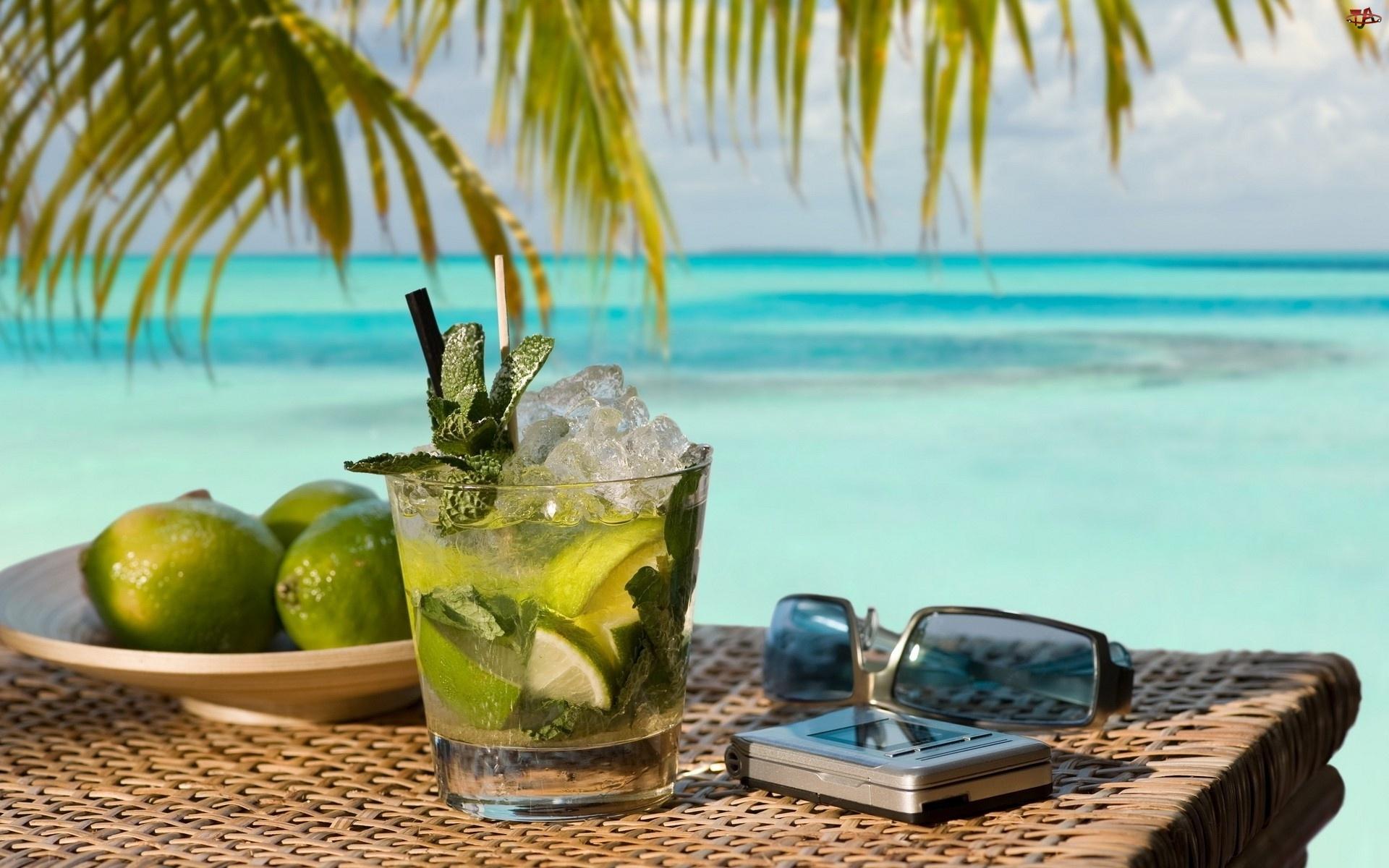 Limonki, Przeciwsłoneczne, Szklanka, Drink, Okulary