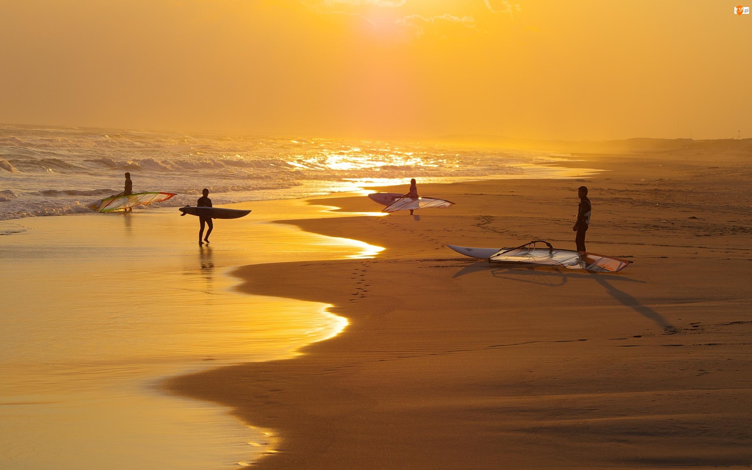 Plaża, Windsurfing, Zachód, Słońca