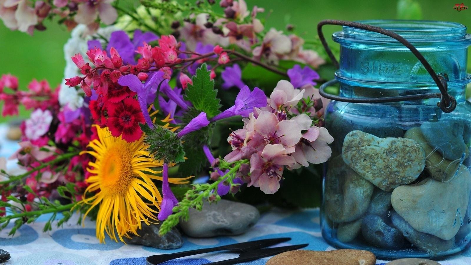 Bukiet, Kamienie, Kwiaty, Słoik