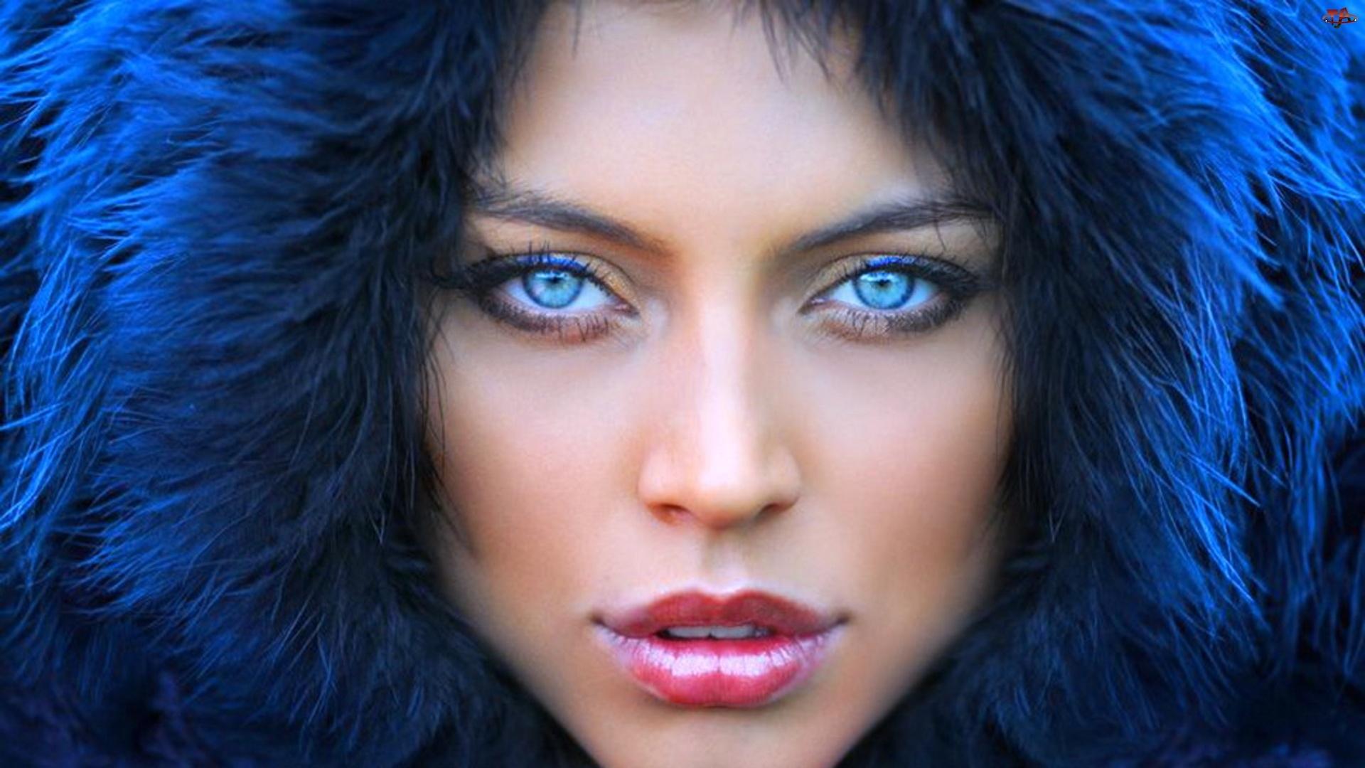 Dziewczyna, Oczy, Makijaż, Błękitne