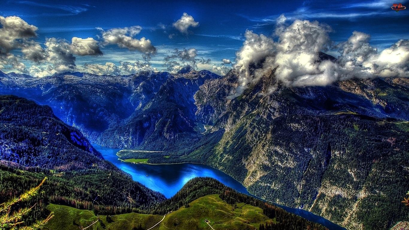 Jezioro, Łańcuch, Ciemne, Górski, Chmury