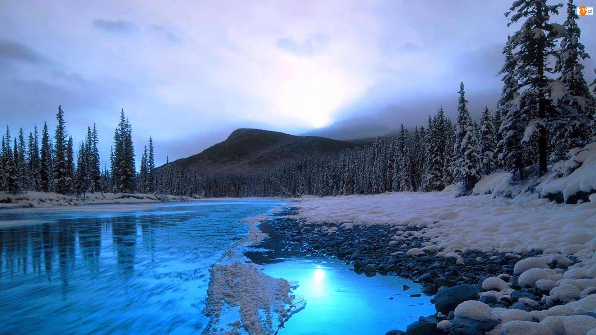 Rzeka, Zima, Góry