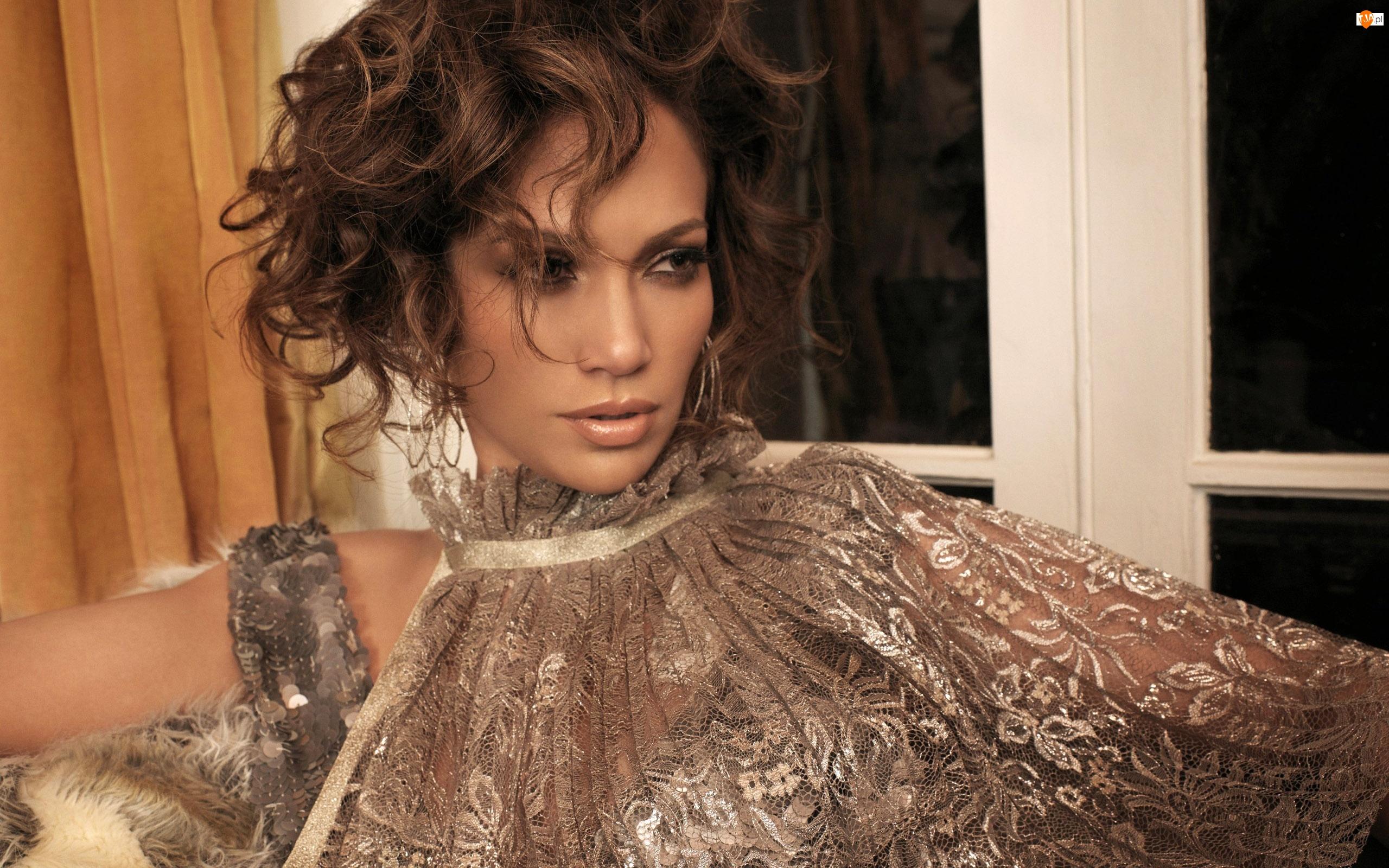 Jennifer Lopez, Bluzka, Srebrzysta, Koronkowa