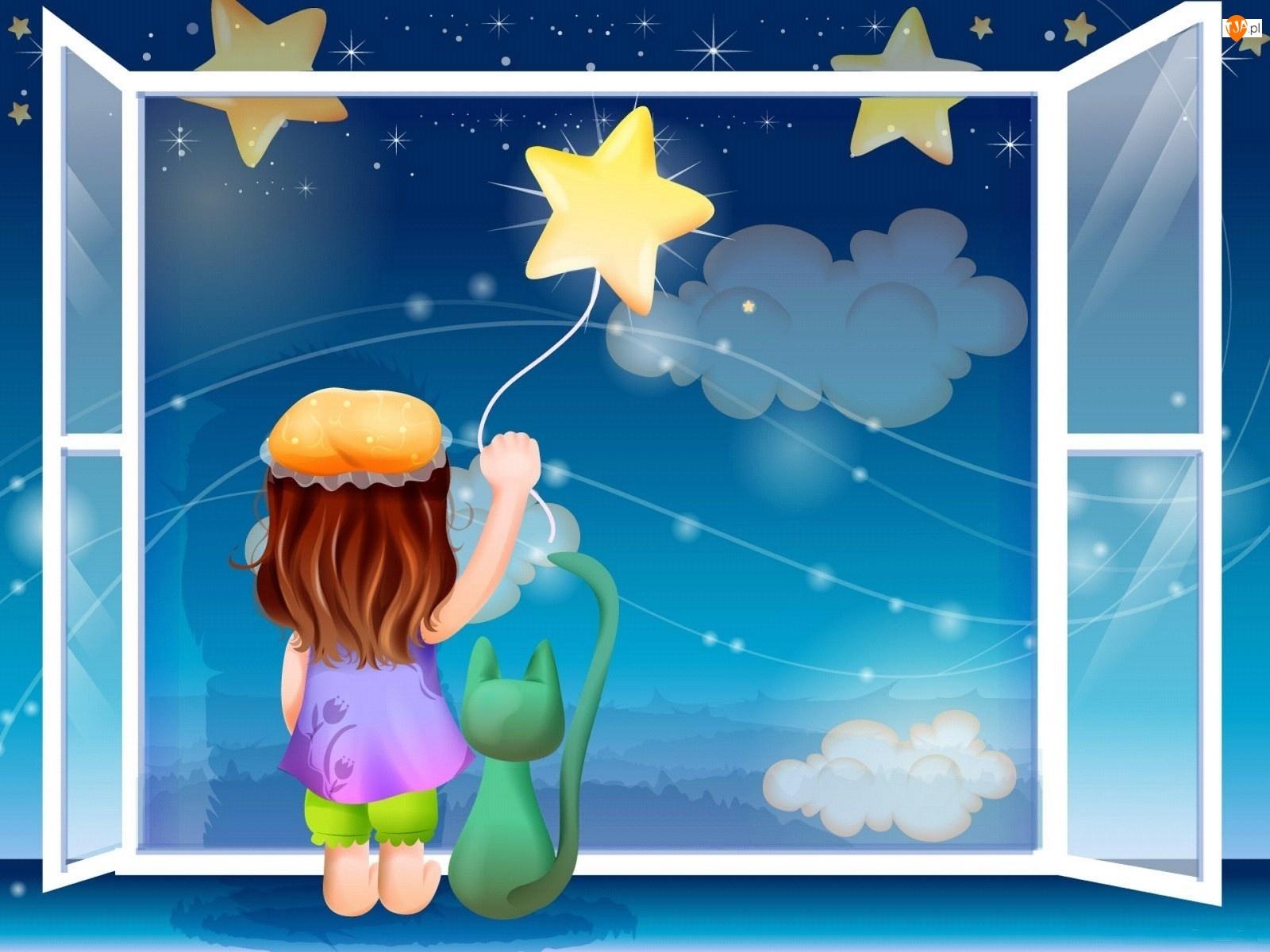 Gwiazdy, Dziecko, Okno, Kot, Noc