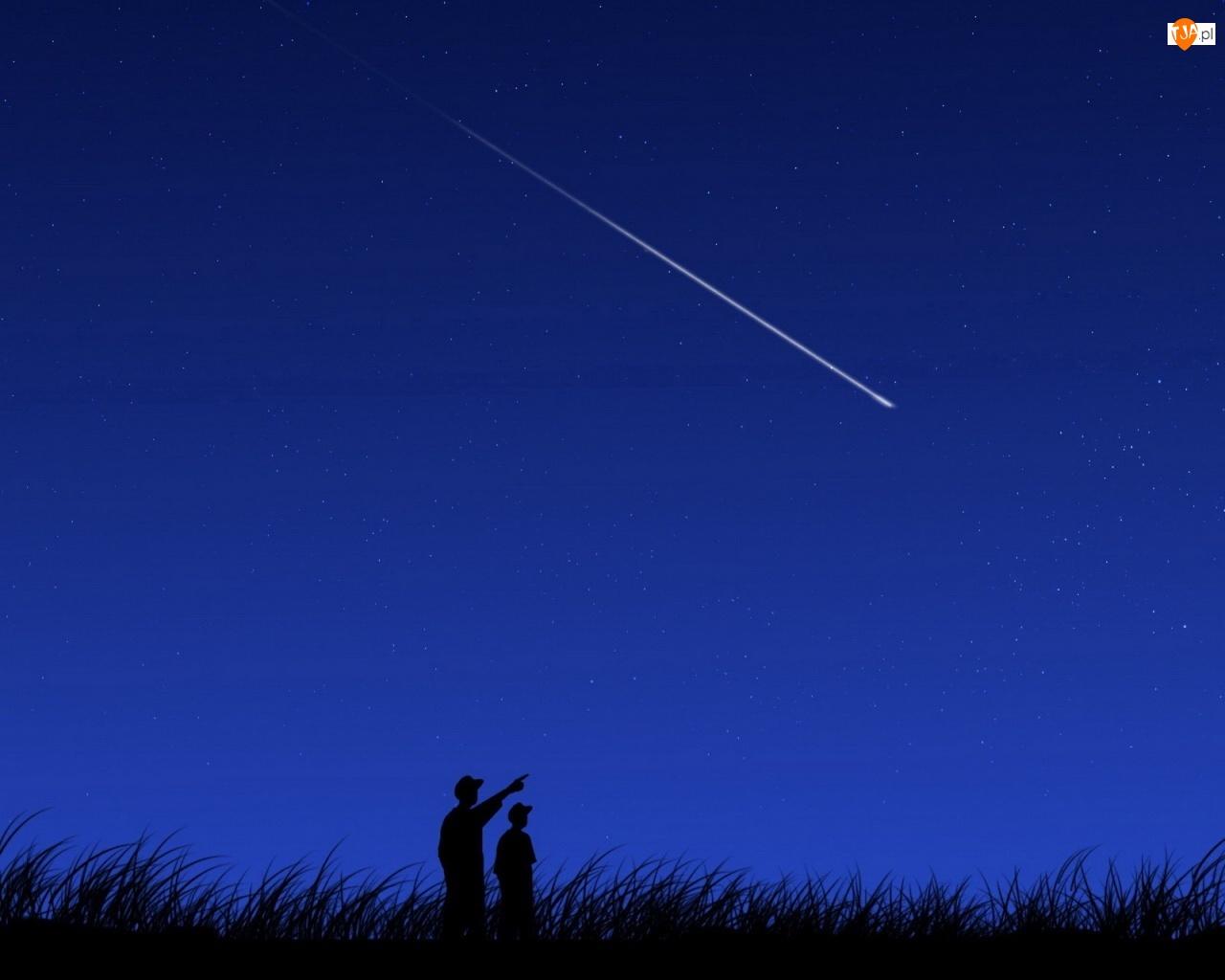 Trawa, Niebo, Gwiazdy, Kometa, Ludzie