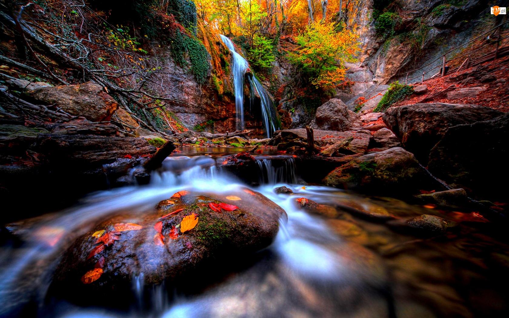 Rzeka, Wodospad, Jesień