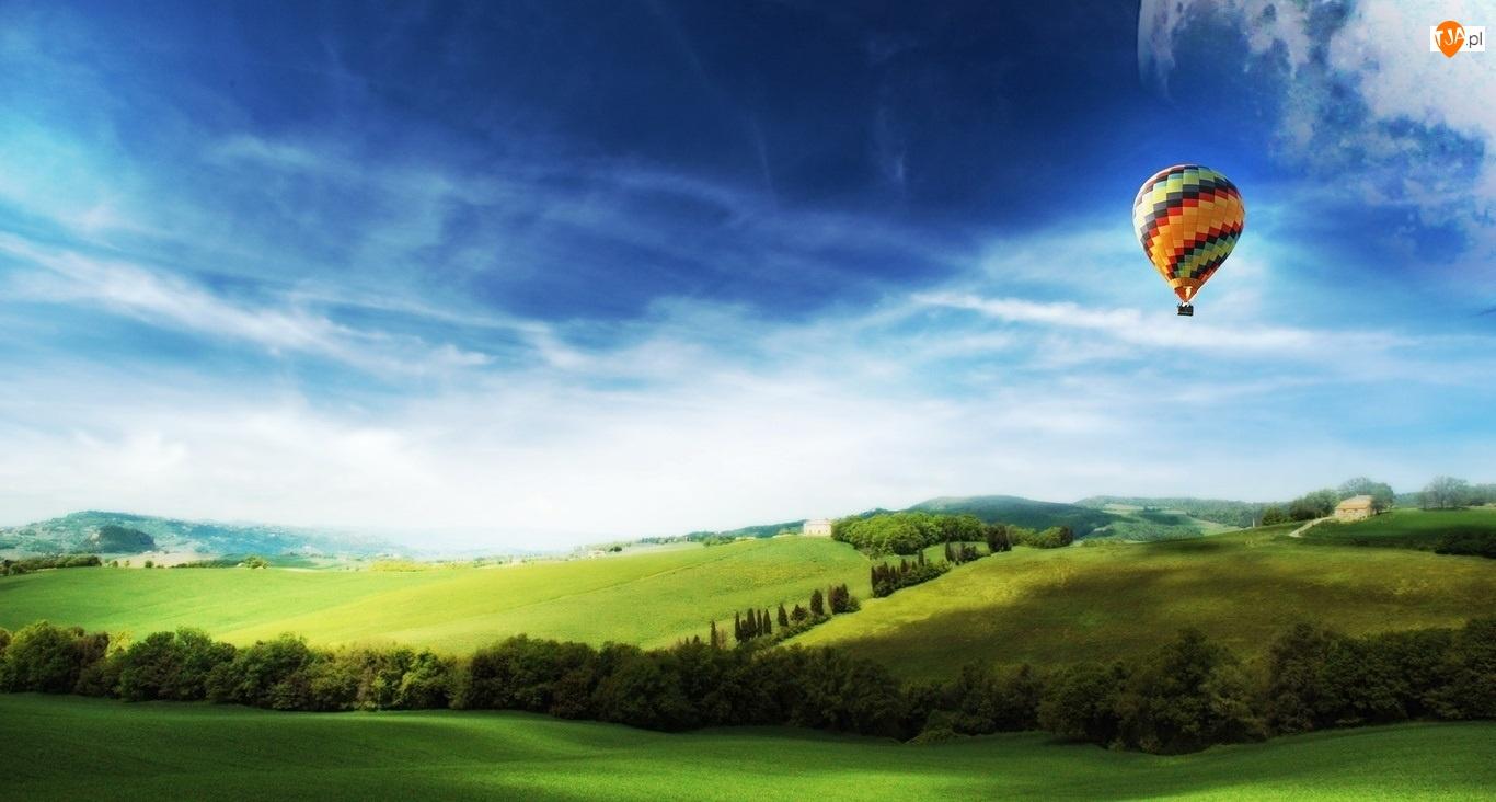 Drzewa, Łąka, Balon