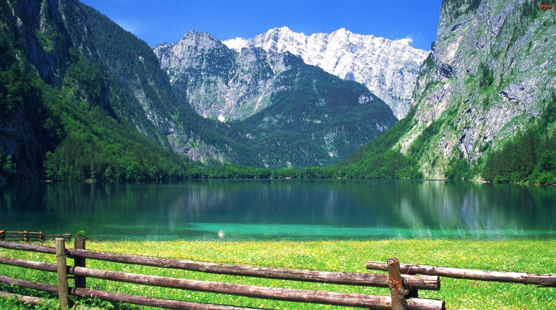 Góry, Ogrodzenie, Jezioro, Trawa