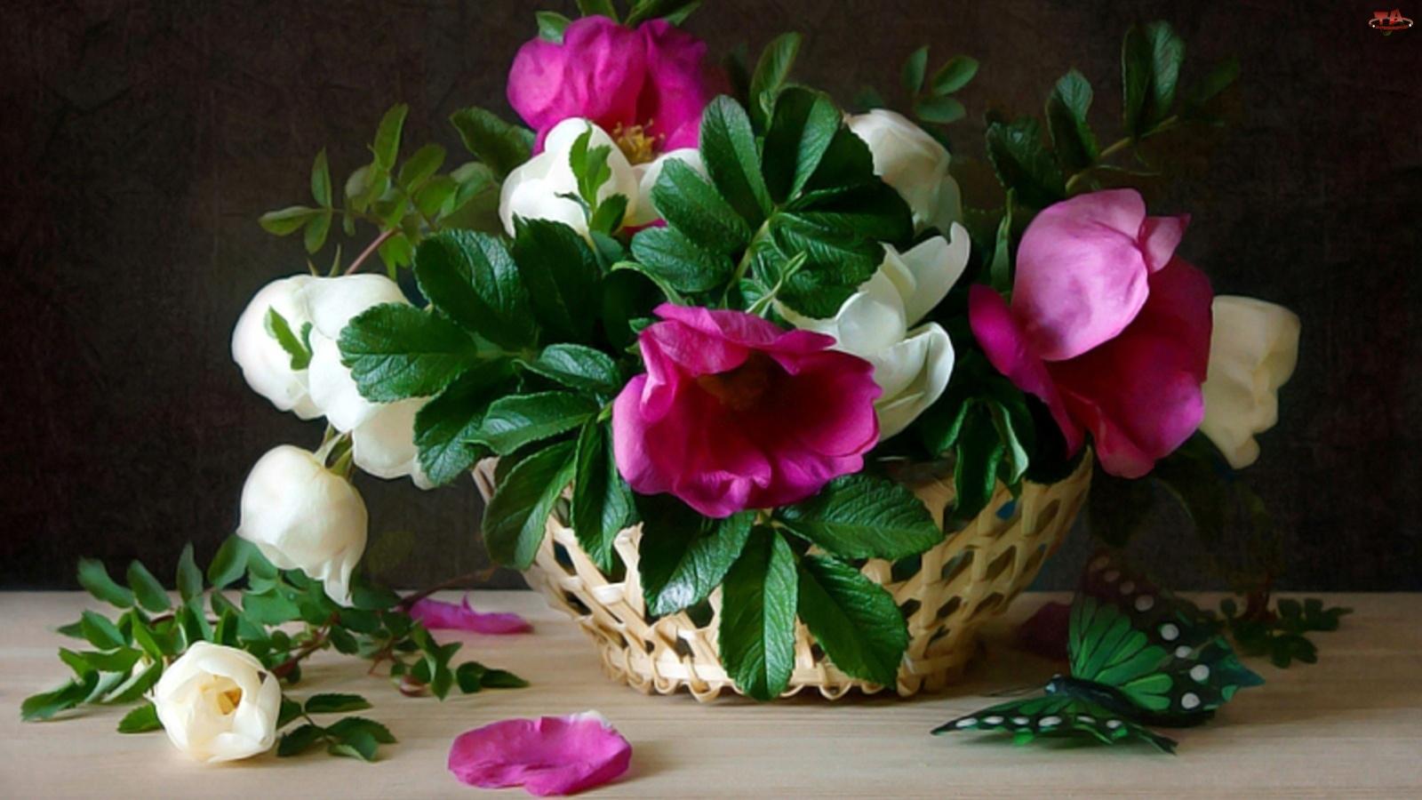 Koszyk, Róży, Bukiet, Dzikiej