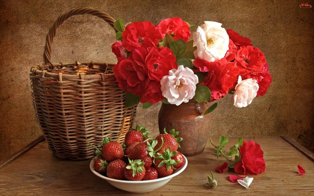 Wazon, Koszyk, Kwiaty, Truskawki