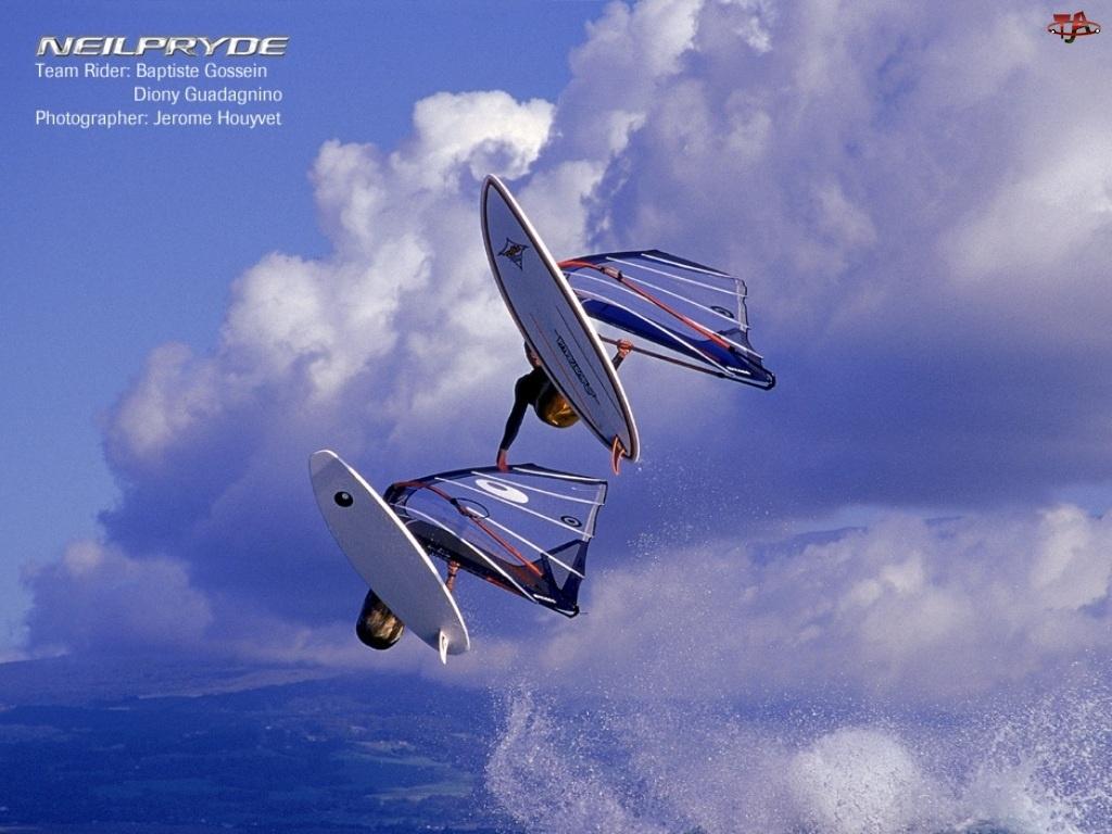 żagiel , fala, Windsurfing, niebo, deska, morze