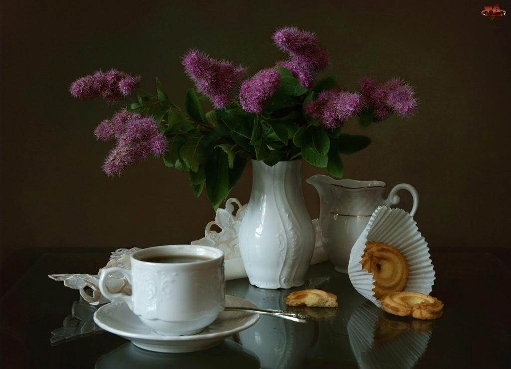 Biała, Kwiaty, Porcelana, Fioletowe
