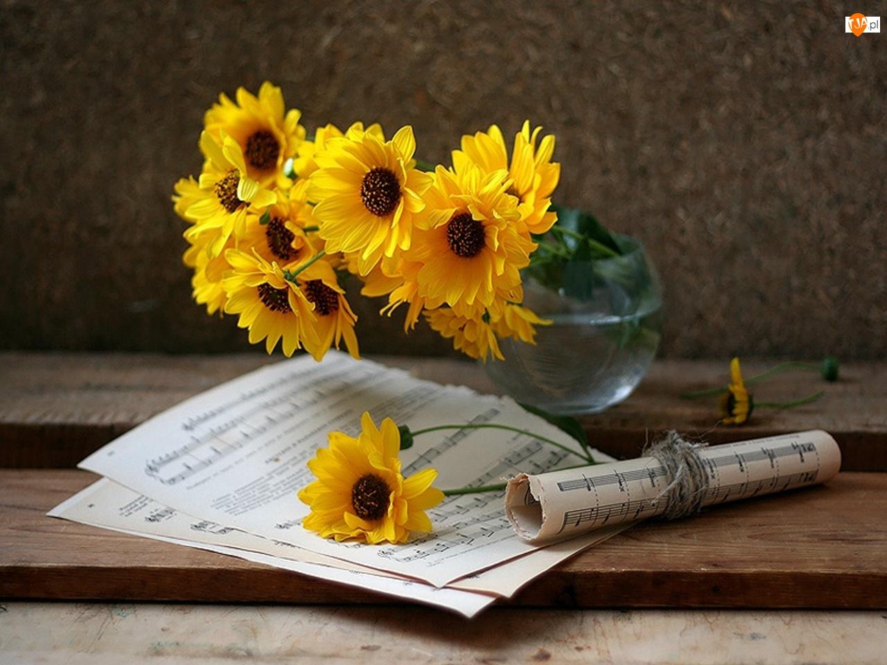 Wazon, Bukiet, Kwiatów, Żółtych, Nuty