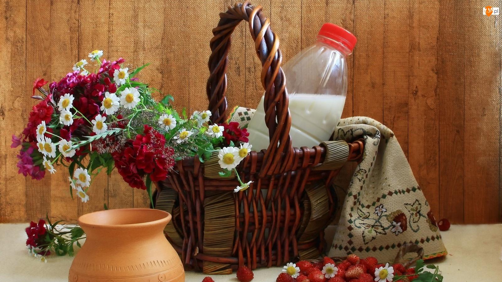 Mleko, Bukiet, Kosz, Kwiatów, Poziomki