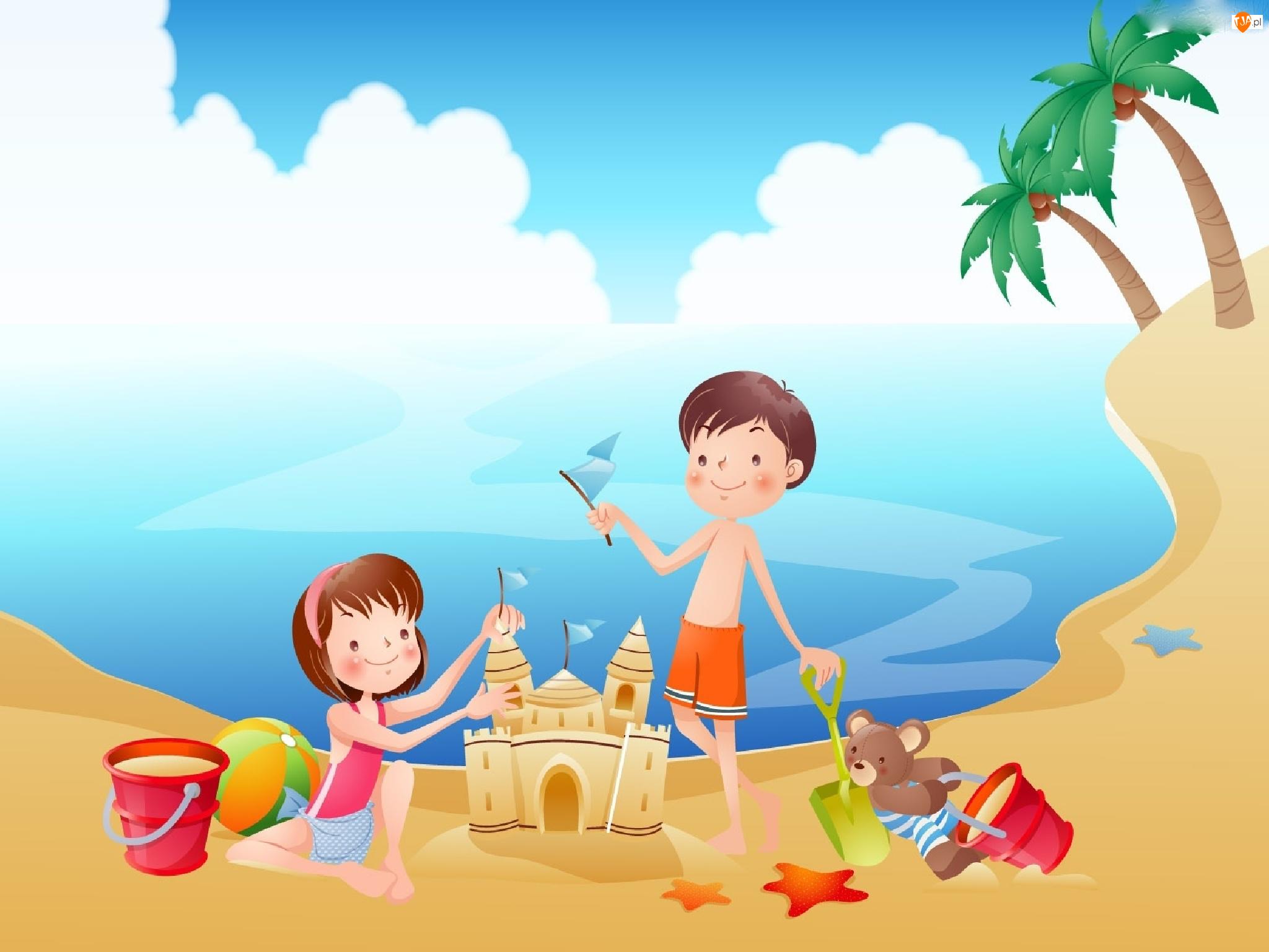 Dzieci, Zabawa, Morze, Plaża