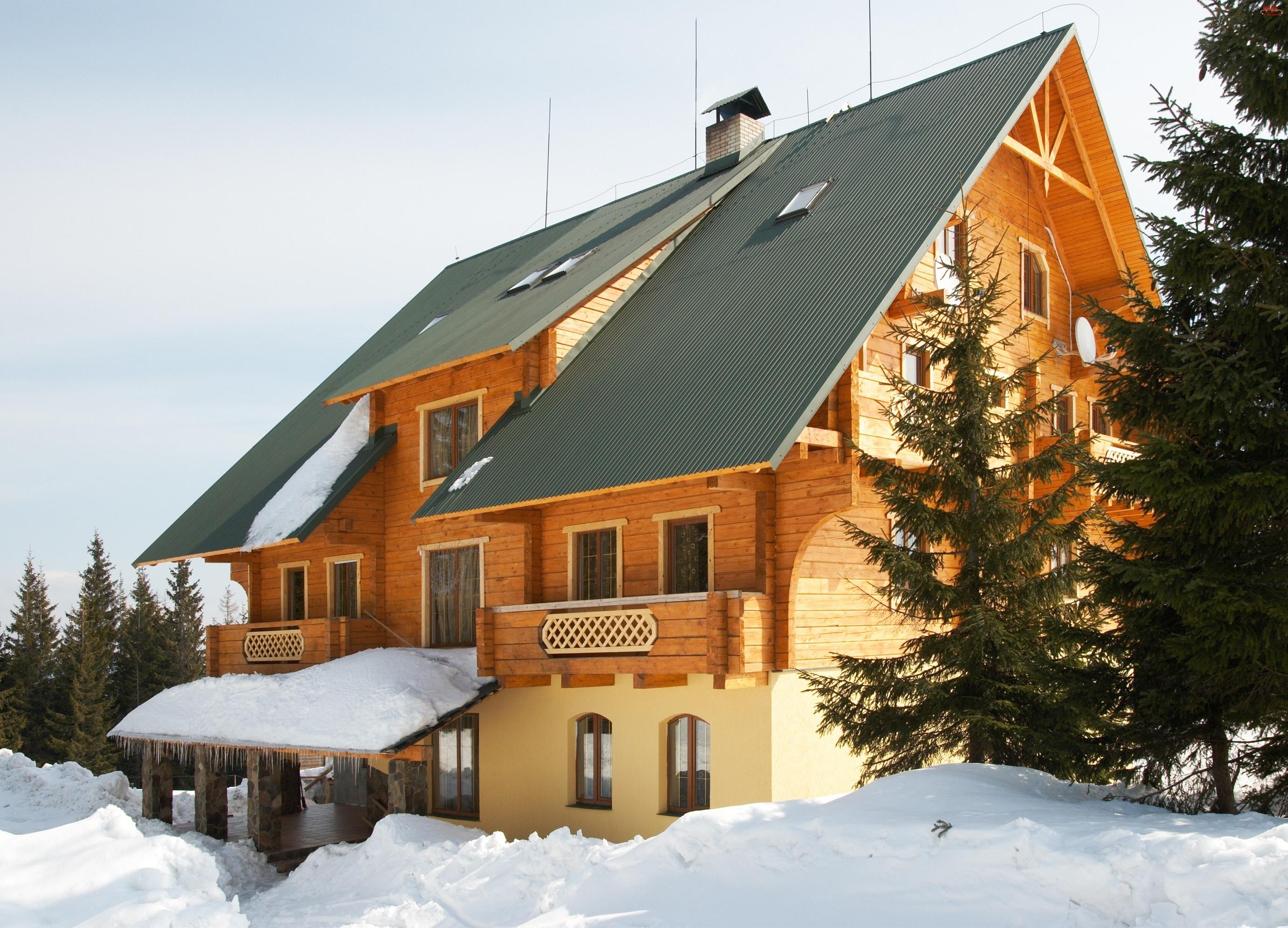 Domek, Dach, Śnieg, Spadzisty