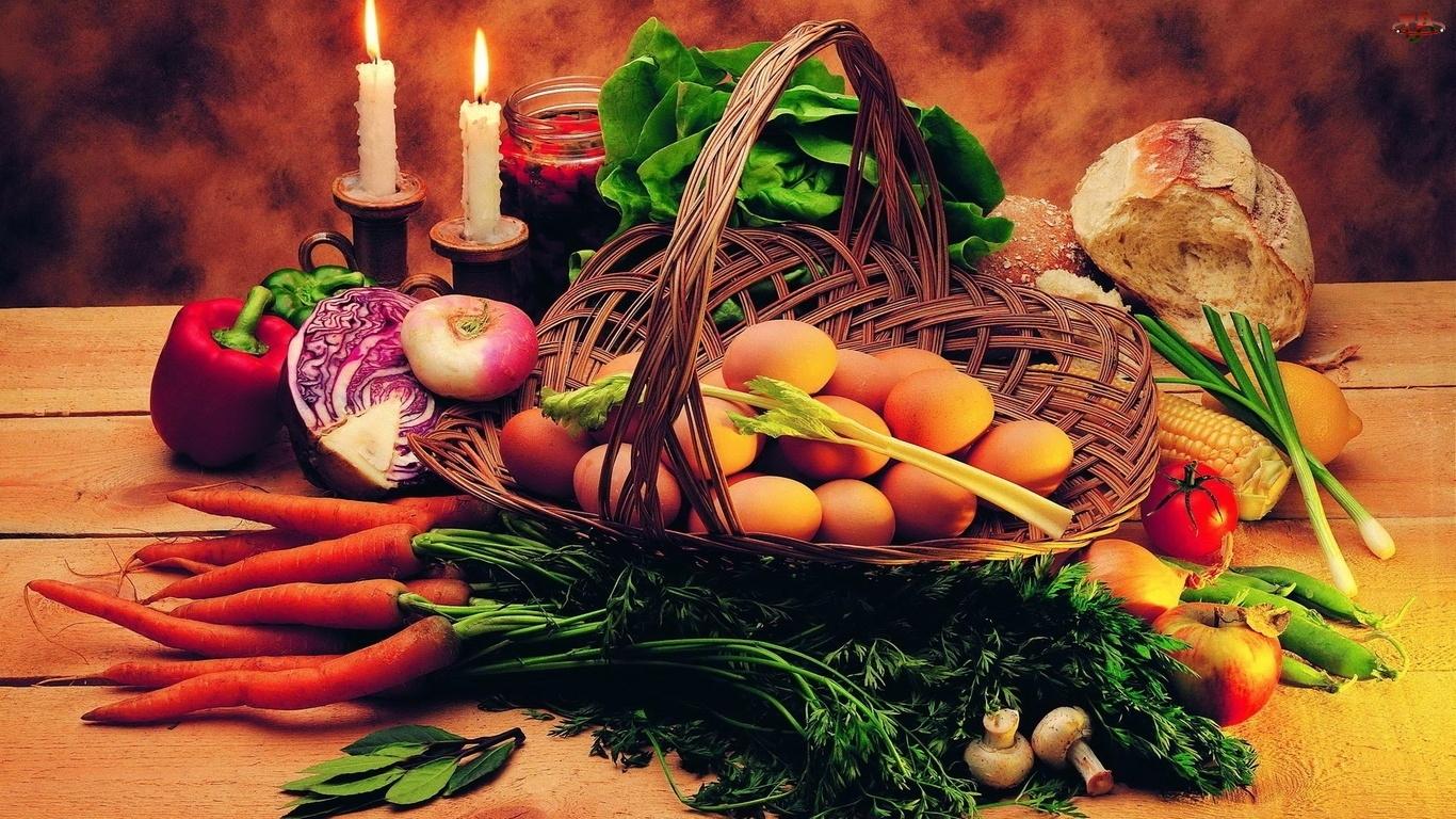 Marchew, Świece, Koszyk, Kompozycja, Warzywa i owoce, Jajka, Sałata