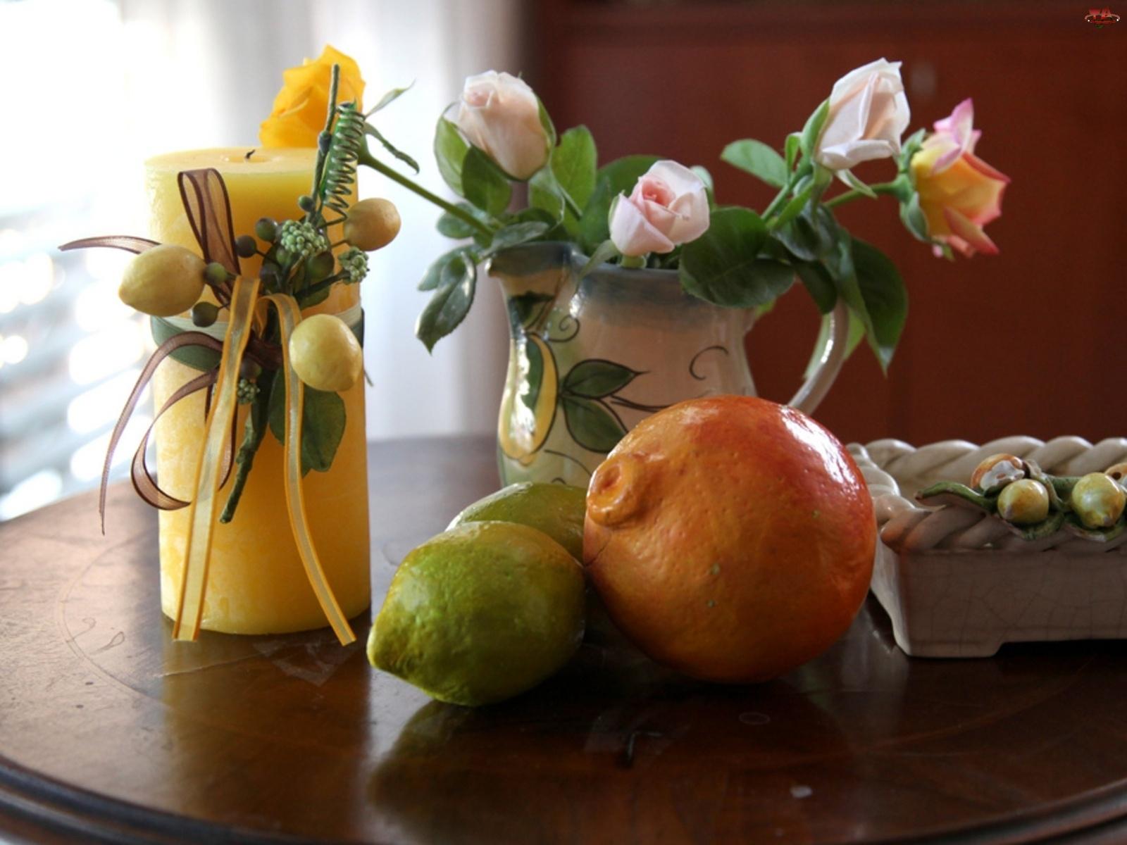 Owoce, Róże, Świeca