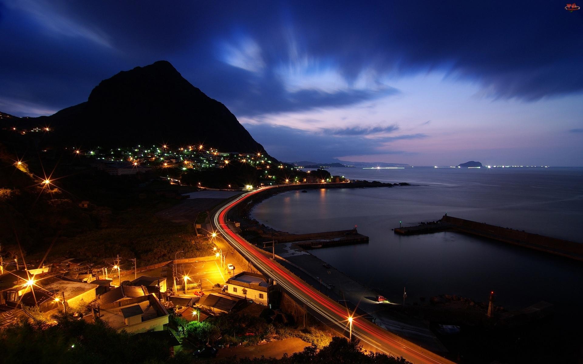 Droga, Noc, Zatoka, Wybrzeże, Miasto