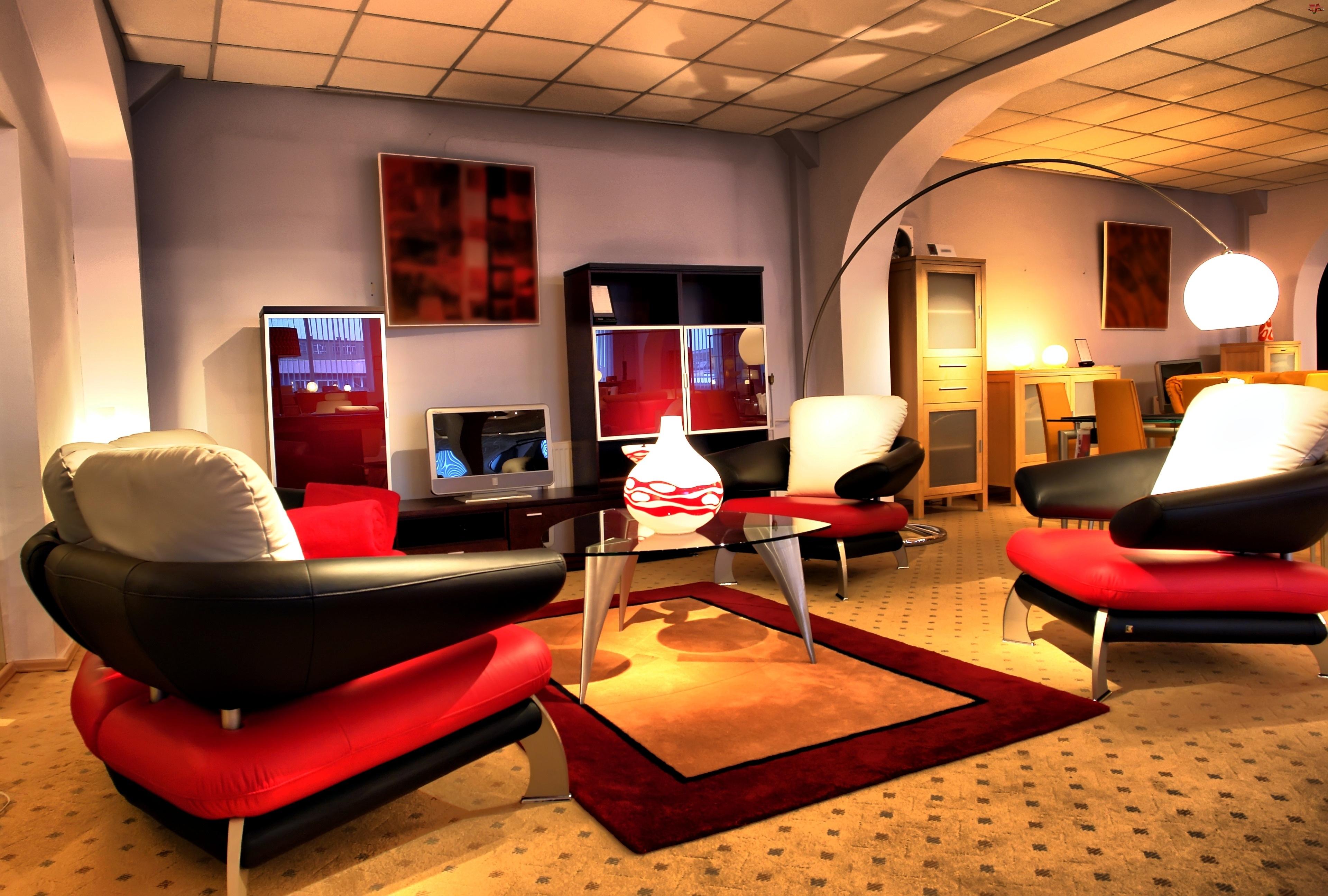Pokój, Lampa, Fotele, Dywan