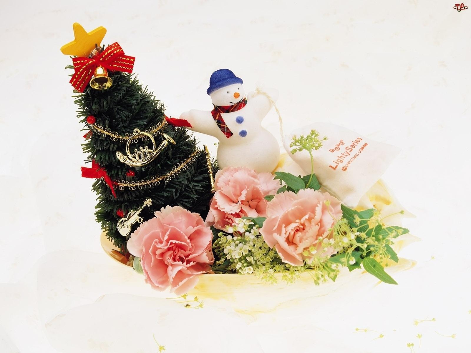 Choinka, Święta, Bałwan, Stroik
