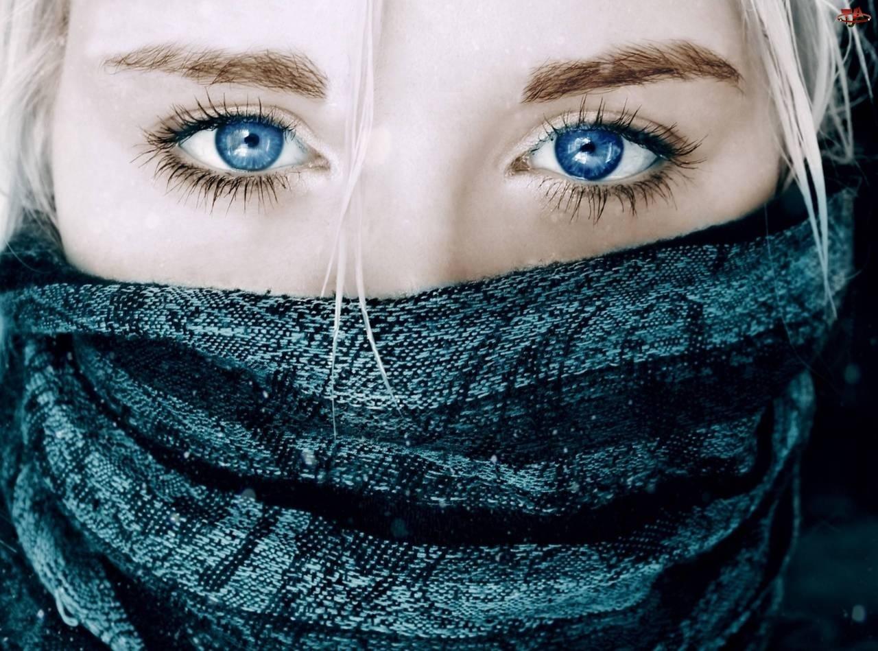 Kobieta, Szal, Niebieskie, Oczy