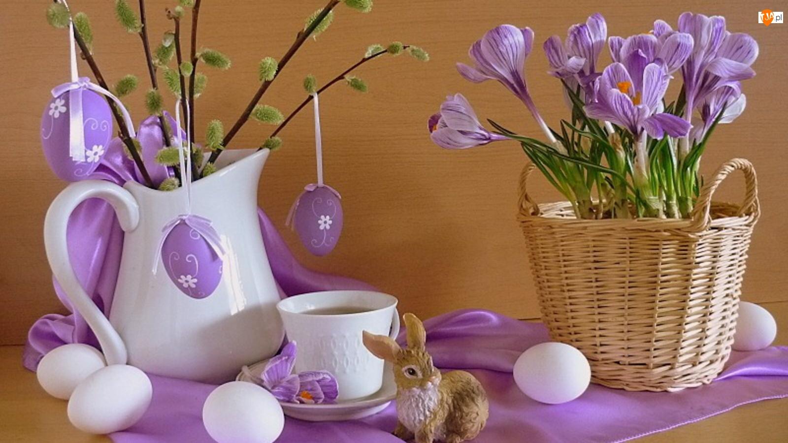 Fioletowe, Wielkanocna, Kwiaty, Dekoracja