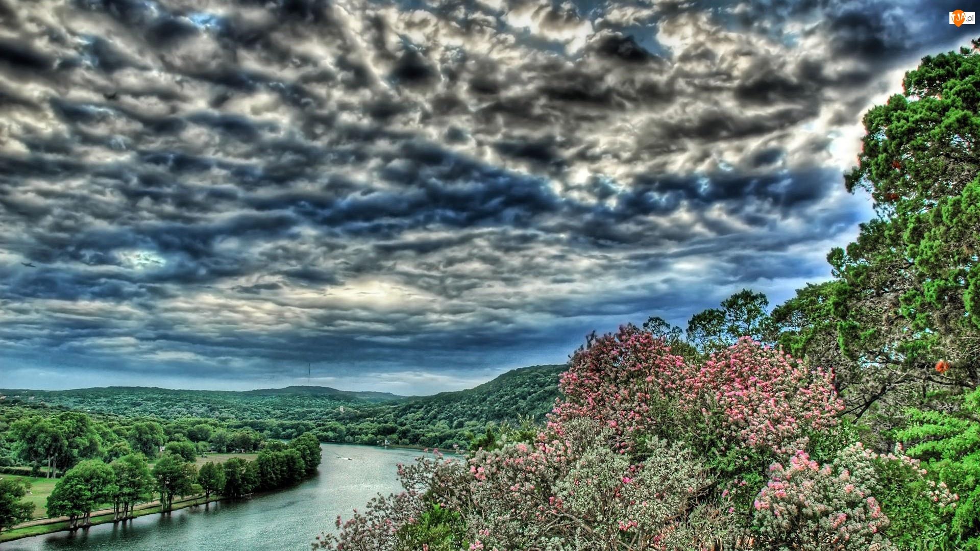 Rzeka, Drzewa, Burzowe, Chmury