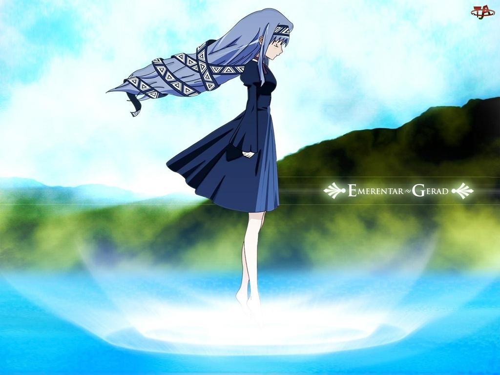 dziewczyna, las, wiatr, Erementar Gerad, suknia, krajobraz, niebo
