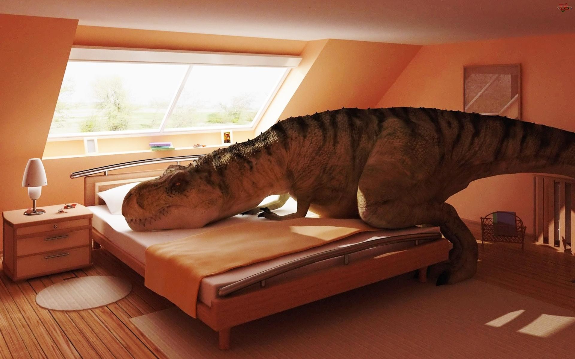 Łóżko, Dinozaur, Poddasze