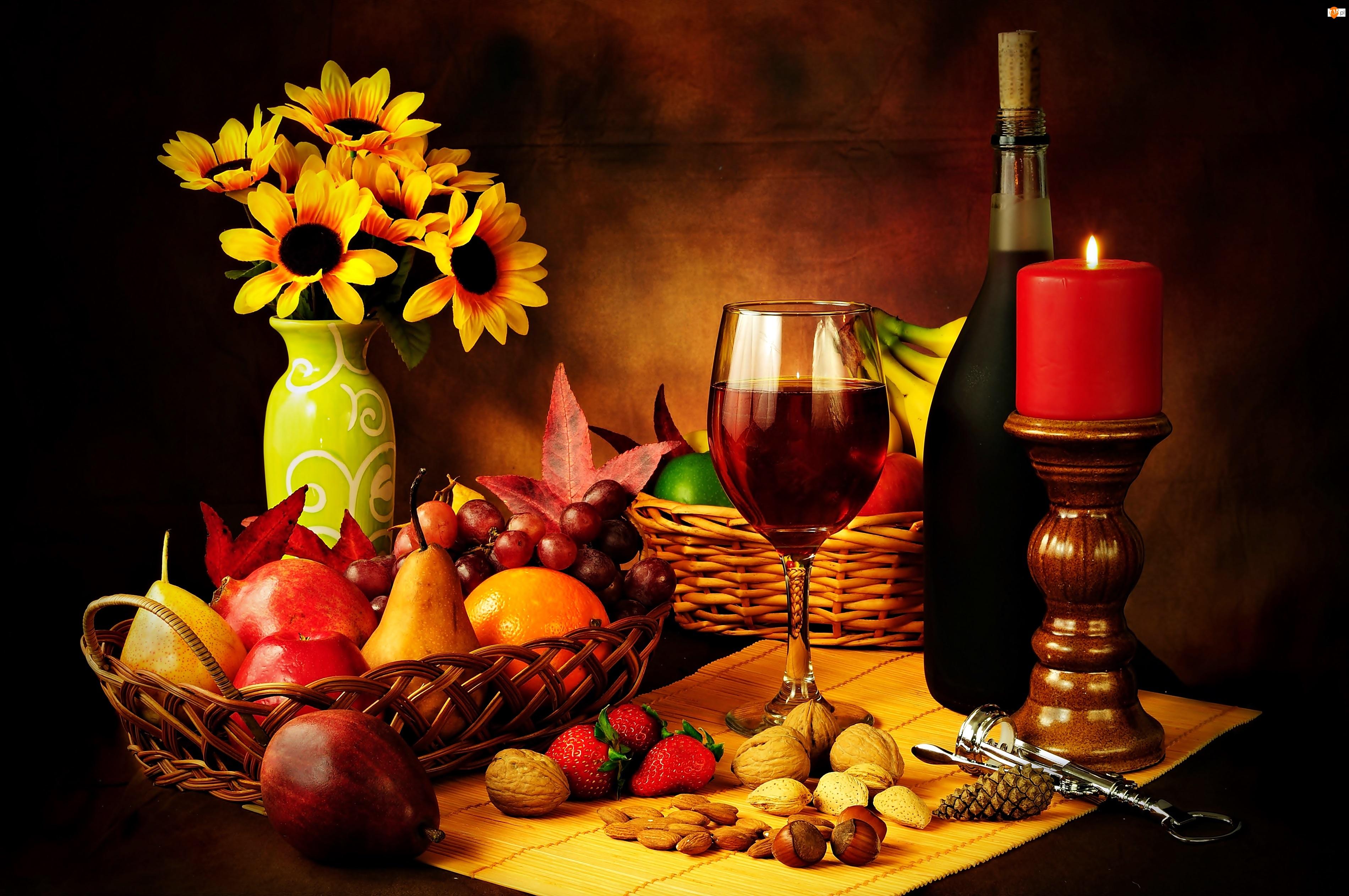 Żółte, Kompozycja, Owoce, Wino, Kwiaty, Świeca