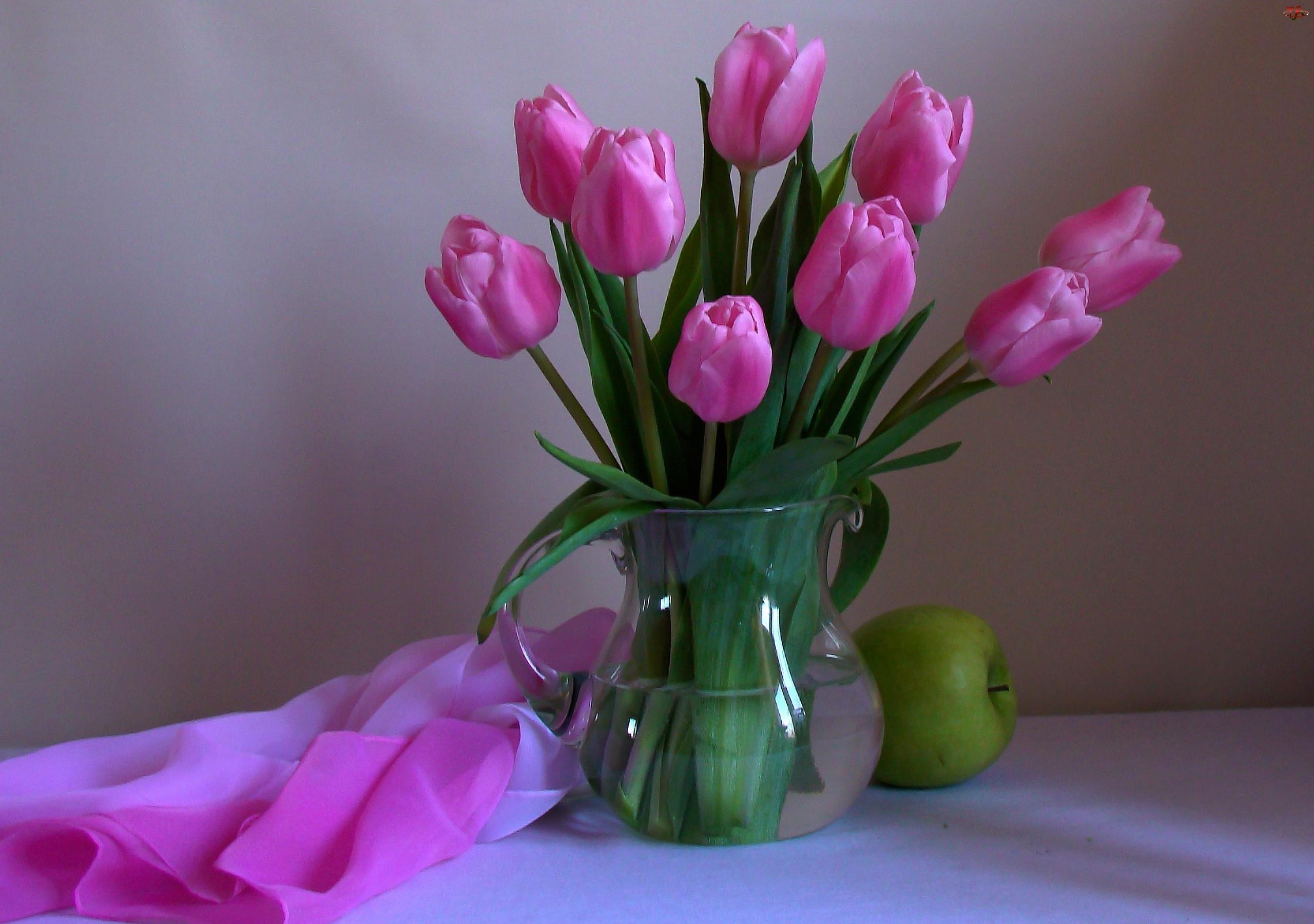 Różowe, Szal, Tulipany, Jabłko