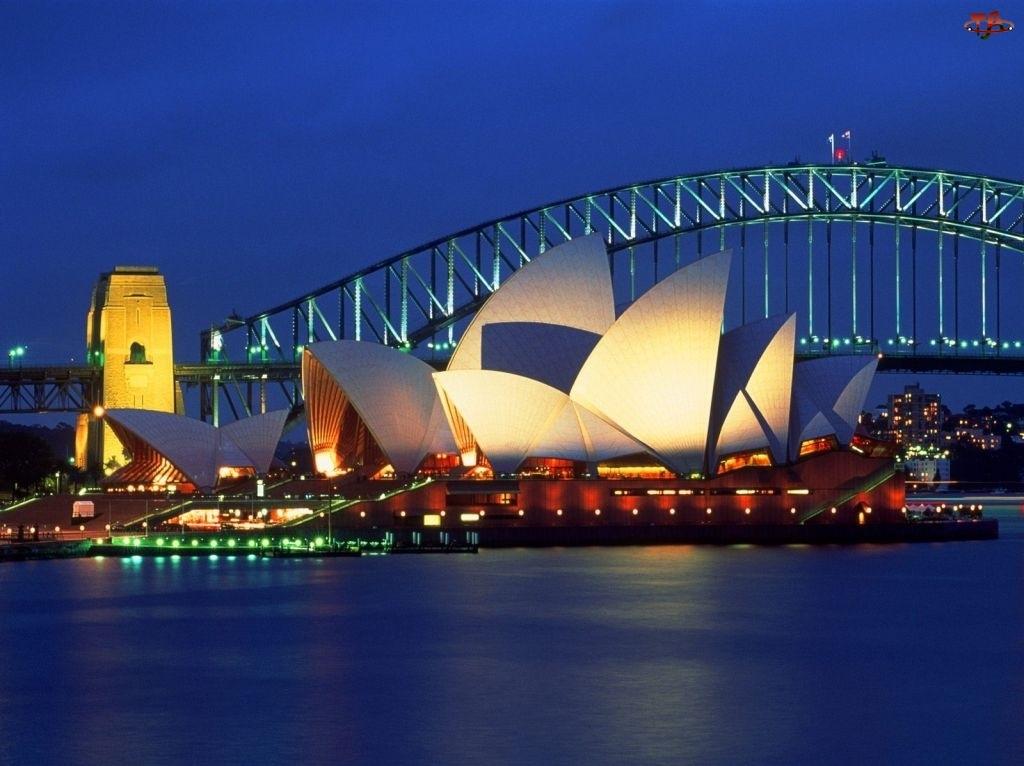 Sydney Opera House, Australia, Zatoka Port Jackson, Sydney, Most Sydney Harbour Bridge
