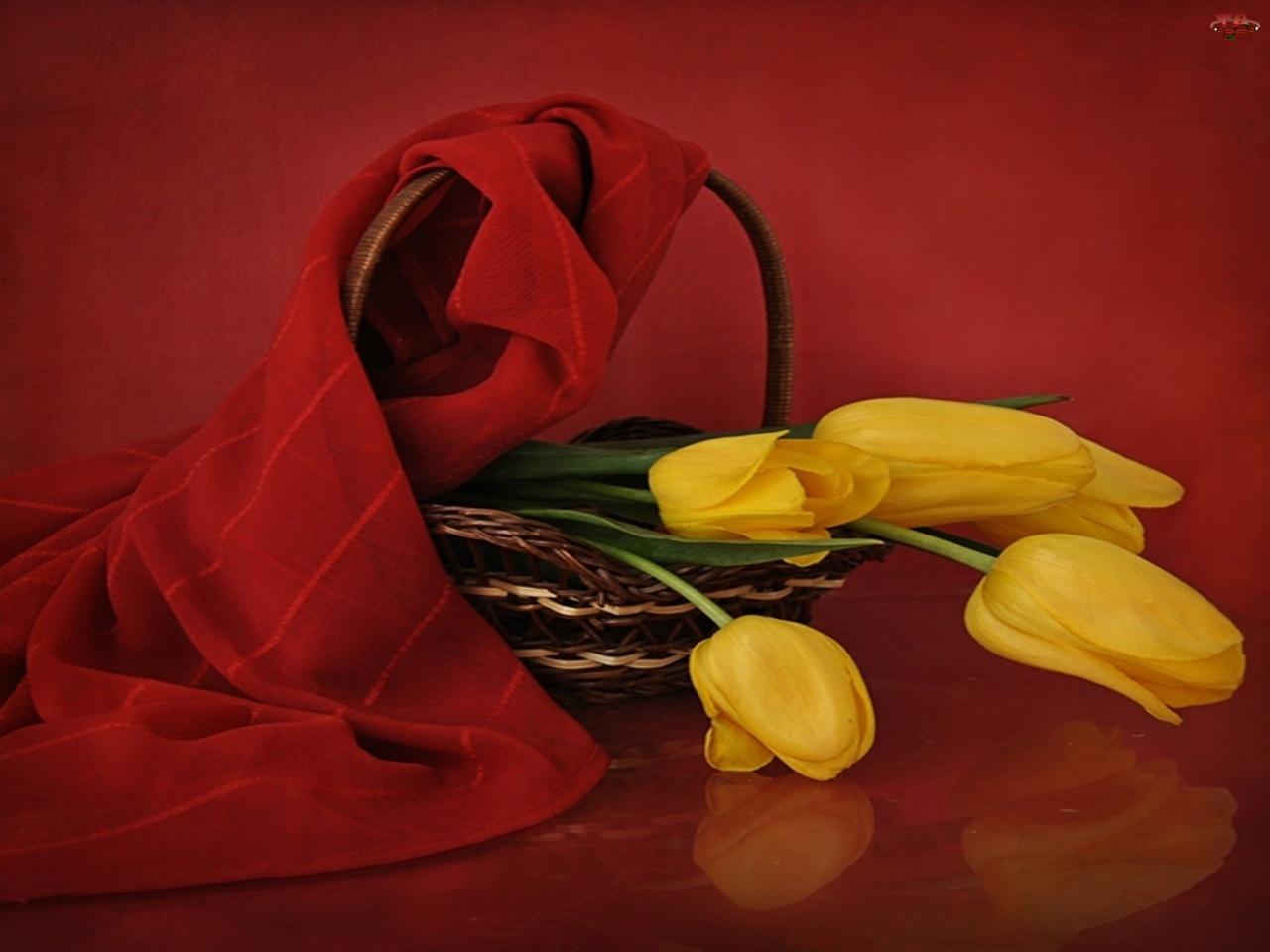 Szal, Żółte, Koszyk, Tulipany, Czerwony