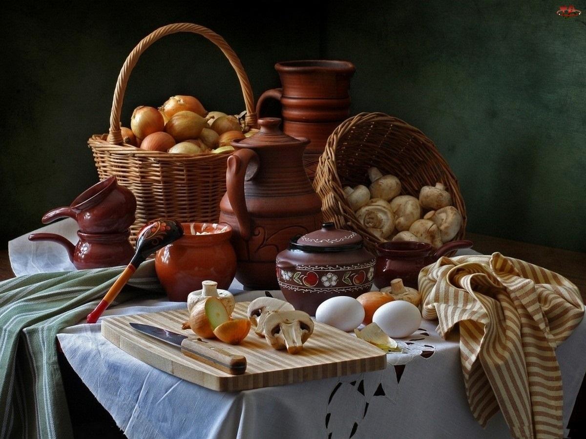 Stół, Cebula, Naczynia, Ceramiczne, Pieczarki