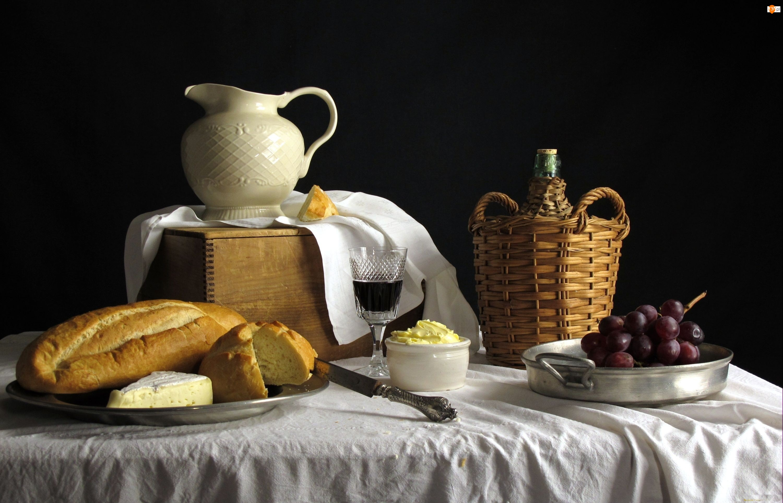 Pieczywo, Wino, Masło, Winogrona